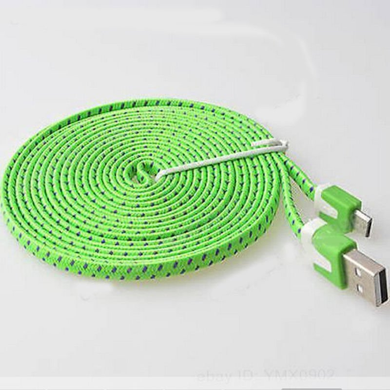 Green Braided 3FT/1M Micro USB Cable For Galaxy S4 3 2 Note II Dealsbest