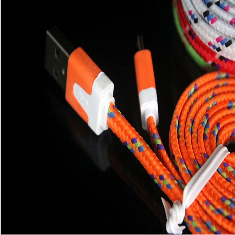 Orange Braided 3FT/1M Micro USB Cable For Galaxy S4 3 2 Note II Dealsbest