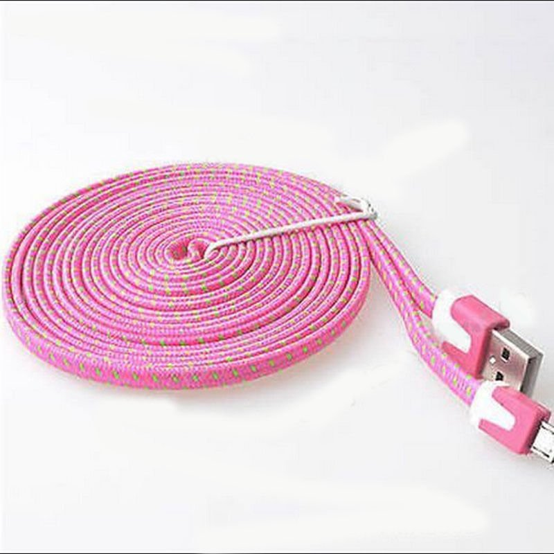 Rose Braided 9FT/3M Micro USB Cable For Galaxy S4 3 2 Note II Dealsbest