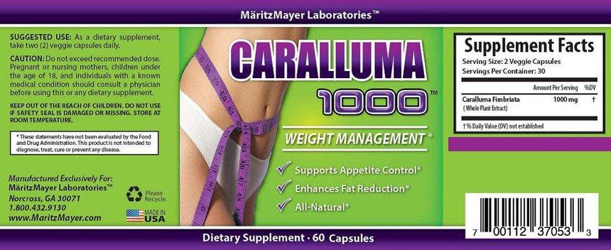 CARALLUMA Fimbriata 1000mg (10:1) RATIO Appetite Suppressant Weight Loss Pills