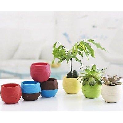 1 x Blue Mini Round Plastic Plant Flower Pots Home Office Decor Planter 7CM
