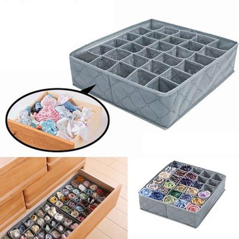 Foldable Bamboo Charcoal Underwear Socks Drawer Organizer Storage Box 30 Cells DB