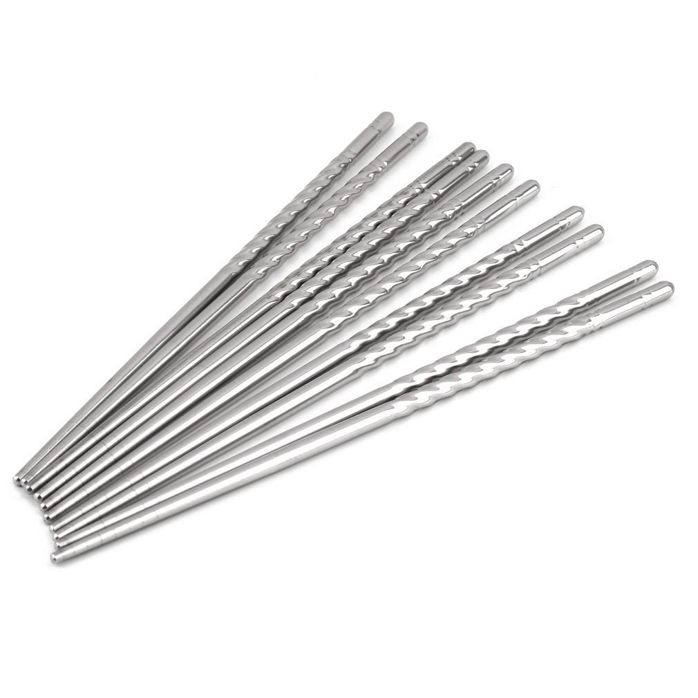 5 Pairs of Stainless Steel Chopsticks Anti-skip Thread Style Durable Silver Color db