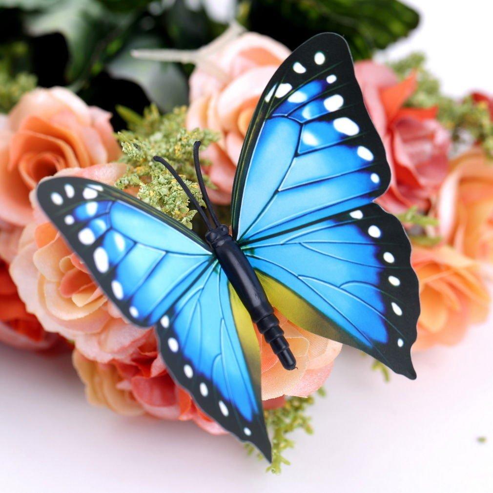 12pcs Blue 3D Butterfly Sticker Art Design Decal Wall Home Decor Room Decorations db