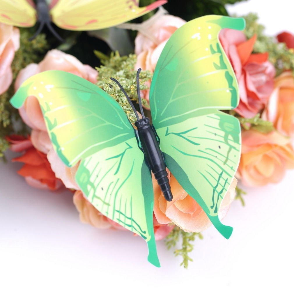 12pcs Green 3D Butterfly Sticker Art Design Decal Wall Home Decor Room Decorations db