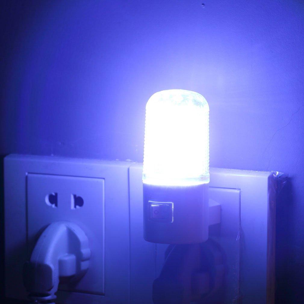 2 Pcs LED Wall Mounting Bedroom Night Lamp Licht Light Plug Lighting Bulb AC 1W-4LED db