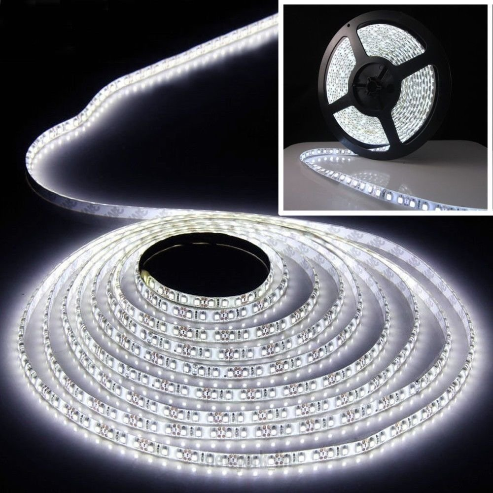 Waterproof 5M Flexible LED Light Strip 12V 600 LEDs Bright White 16ft 3528 SMD db