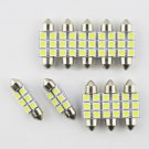 10X Festoon 36mm 3W 270lm 6-SMD 5050 LED White Light Car License Plate Lamp DB