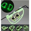10x Fluorescent Night Glow Light Fishing Rod Tip Clip Twin Bell Alarm Alert Ring db