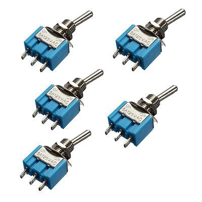5 Pcs 3-Pin SPDT ON-ON MTS-102 6A 125VAC Mini Toggle Switches  db