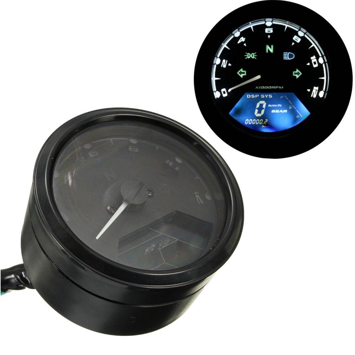 12000RPM LCD Digital Odometer Speedometer Tachometer F1 2 4 Cylinders Motorcycle db