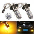 2pcs H3 9 LED 5050 SMD Amber Yellow Car Fog Driving Headlight Light Lamp Bulb db
