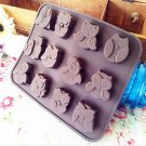 Silicone Owl Muffin Candy Cookies Soap Mold db
