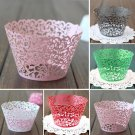 12PCS Wedding Birthday Baby Shower Filigree Vine Cupcake Wrappers Wraps Cases White Color