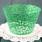 12PCS Wedding Birthday Baby Shower Filigree Vine Cupcake Wrappers Wraps Cases Green Color