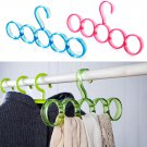 Save Space Hanger 5 Ring Slots Clothing Shawl Scarf Belt Tie Closet Organizer One Pcs