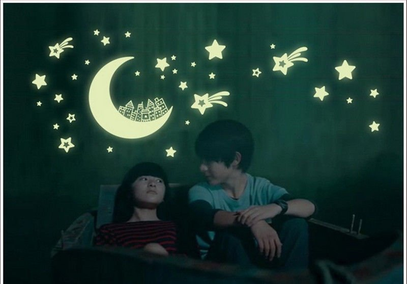 Glow in the dark wall sticker DIY kid's room decoration home decals luminous City Moon Star