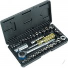 "40PC SOCKET SET WITH CASE 1/4"" 3/8"" DR METRIC AF SOCKETS RATCHET HANDLE TOOLS DB"