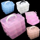 Jewelry Box  Nail Art Storage Box 3 Layer Pill Box Random Color x 1