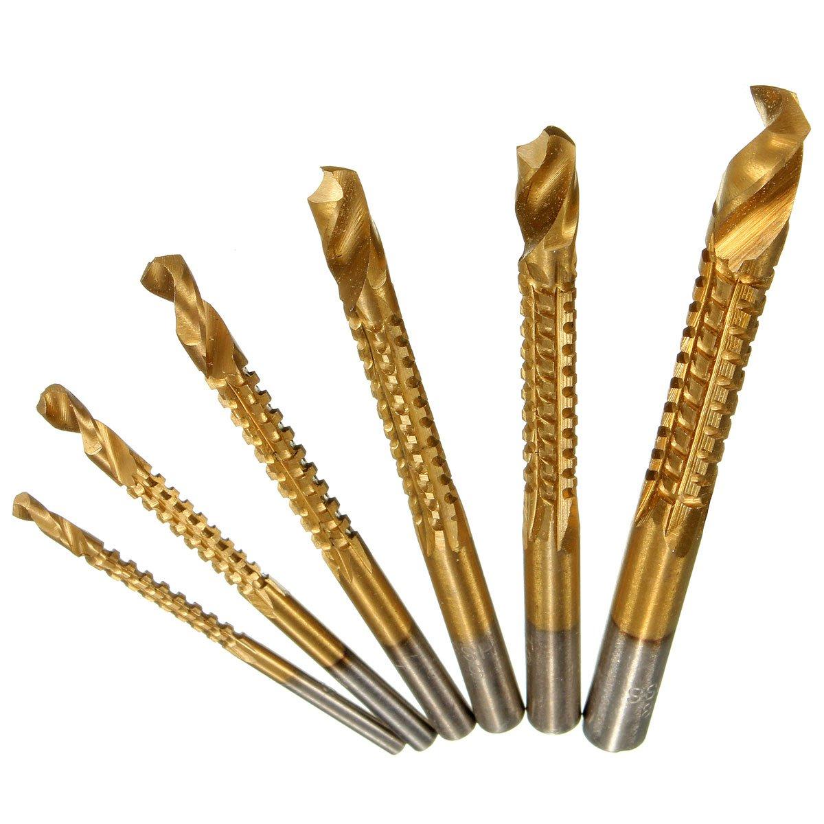 6Pcs Min Titanium Coated HSS High Speed Steel Drill Bit Set Tool Woodworking db