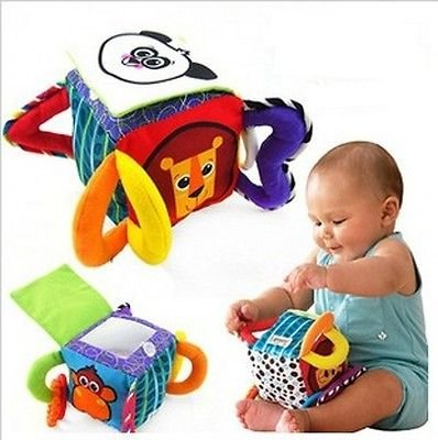 Infant Baby Toddler Kid Panda Cube Peekaboo Mirror Soft Plush Rattle Block Toy db