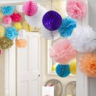 2 Pcs Yellow 10'' Wedding Party Home Birthday Tissue Paper Pom Poms Flower Balls Décor db