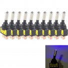 10Pcs 12V 20A Car Auto Blue LED Light Toggle Rocker Switch 3Pin SPST ON/OFF db