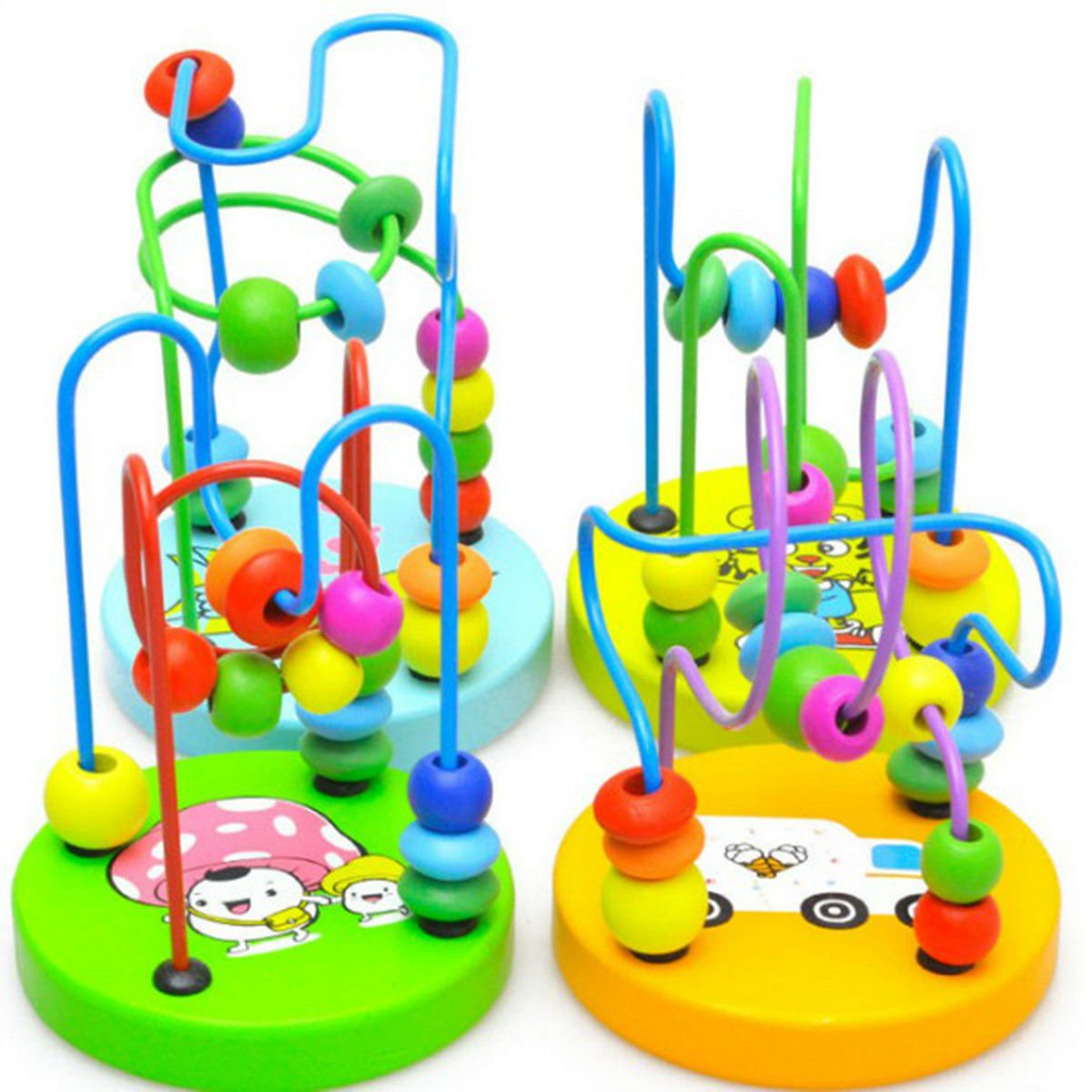1pc Baby Kids Children Colorful Wooden Around Beads Educational Game Toy Mini db