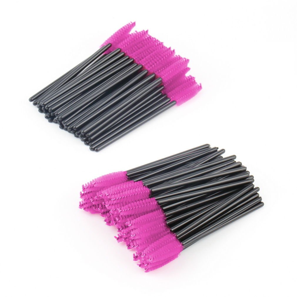 100 PCS Disposable Eyelash Mini Brush Mascara Wand Applicator Spooler Makeup db