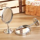 Double-Sided Mirror Desk Makeup Stainless Steel Holder Oval Shap  db