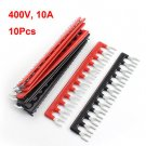 10pcs Fork Type 12 Postions Terminal Strip Jumper Black+Red 400V 10A db
