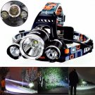 8000LM 3-Head CREE XML XM-L T6 LED Recharge 18650 Headlamp Headlight Light Lamp db