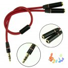 3.5mm Stereo Headphone Audio Male To 2 Female Y Splitter Cable Adapter Plug Jack db