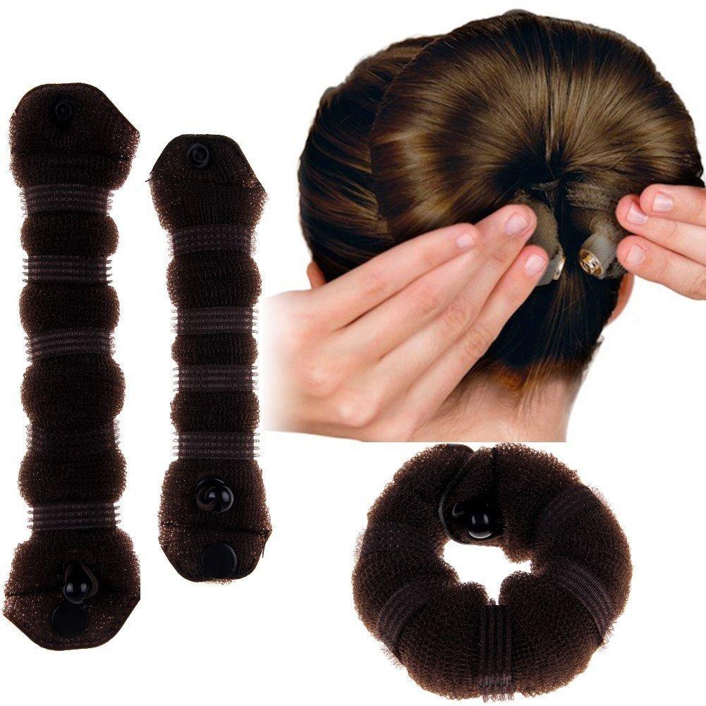 2PCS Hair Styling Sponge Magic Donut Bun Maker Former Ring Shaper Styler Tool db