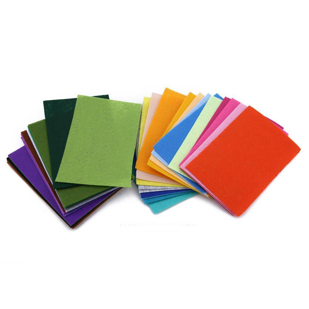 40PCS Rainbow Colorful Felt Sheets DIY Craft Polyester Wool Blend Fabric 10x15cm FGH