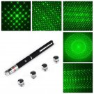 Powerful 5 in1 Green Laser Pointer Pen Green Light 5mW 532nm + 5 heads Star Cap