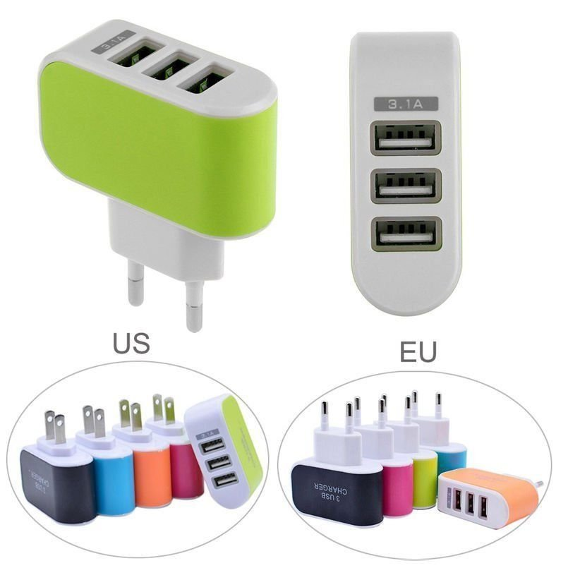 Universal 3.1A Triple USB 3 Port Wall Home Travel AC Charger Adapter For EU 1 Pcs