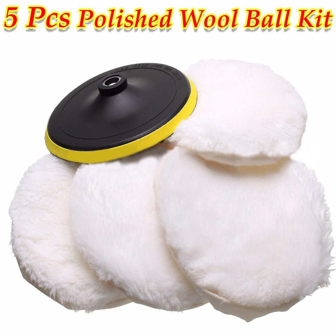 5Pcs 7'' Polisher/Buffer kit Soft Wool Bonnet Pad Hook Loop Heavy Cut Pad White db