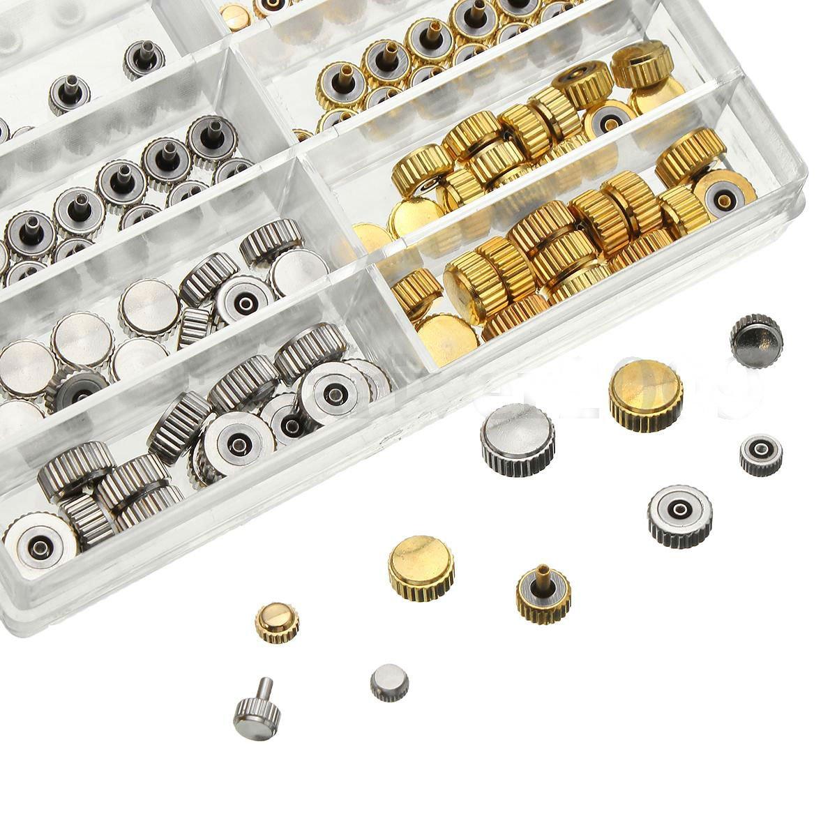 150pcs Mixed Silver Gold Watch Crown Repair Parts Tool 10 Size Assortment Set ddb