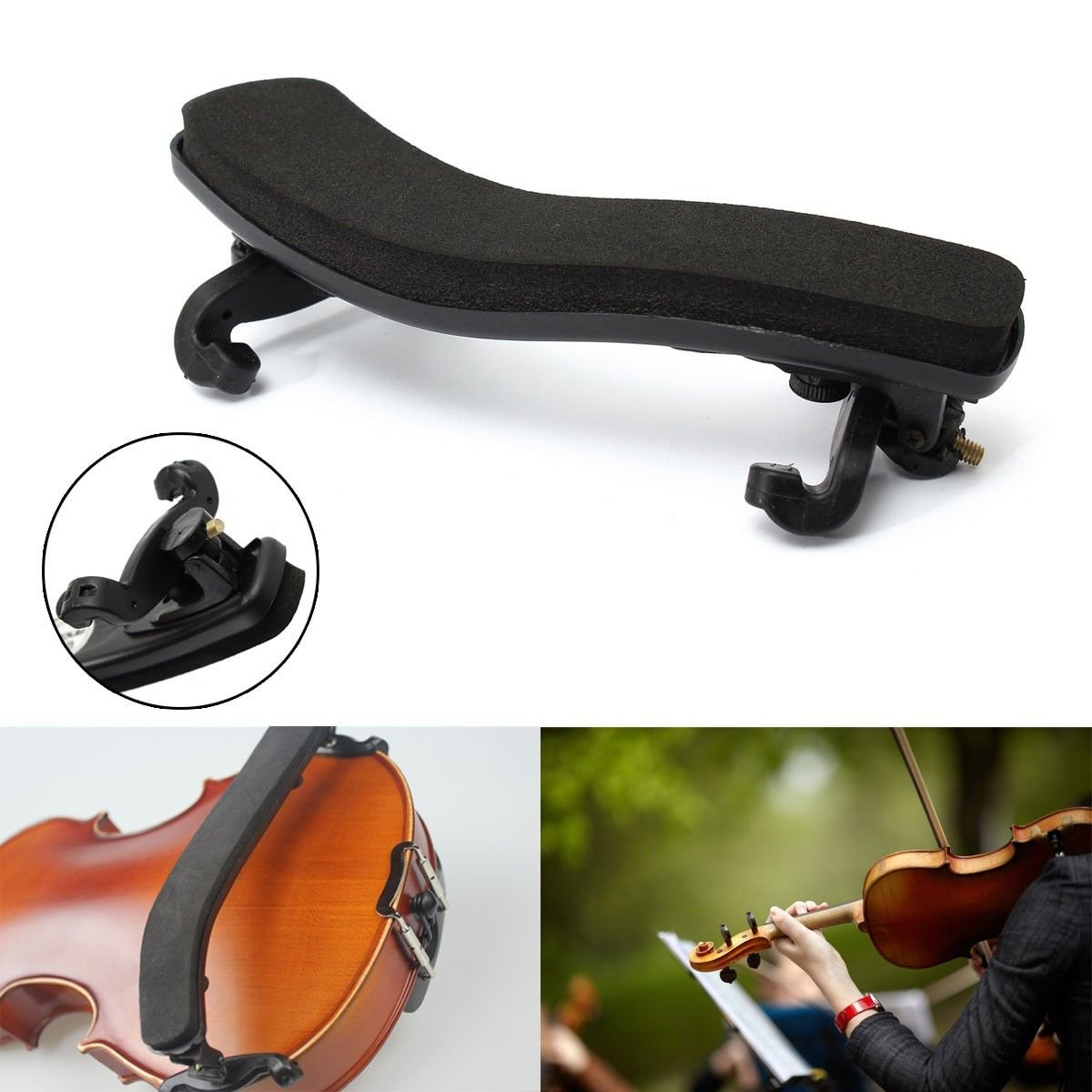 Black Height & Angle Adjustable Violin Shoulder Rest For 1/4 1/2 Size Violin dbd