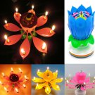 Musical Lotus Flower Rotating Candle For Birthday Party Random Color 1 Pcs db