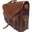 Handmade Vintage Leather Padded Briefcase Macbook Satchel Messenger Bag