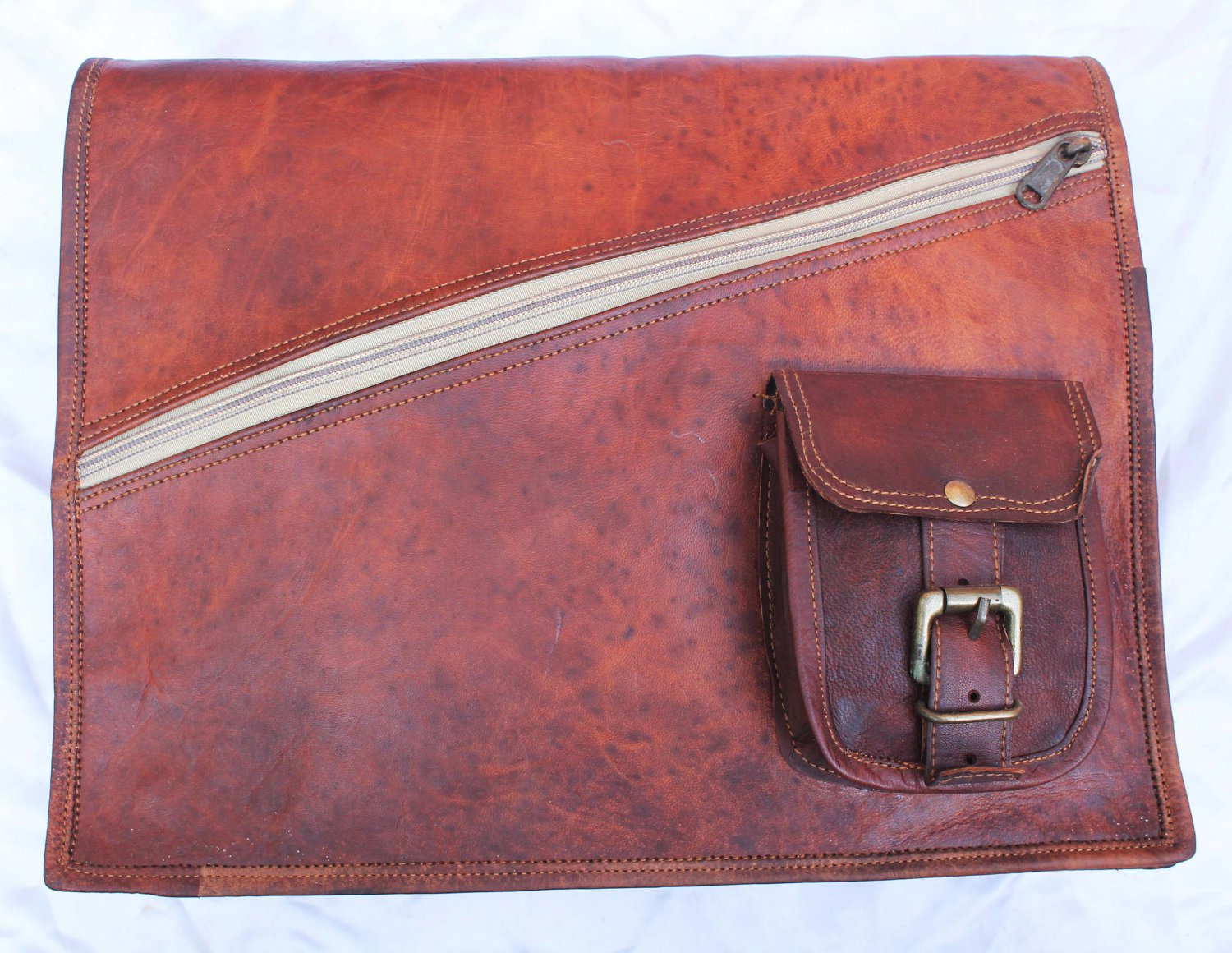 Handmade Vintage Leather Padded Briefcase Macbook Satchel Messenger Bag.