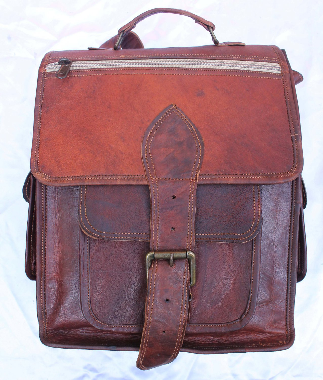 Handmade Leather Satchel Messenger rucksack Bagpack.