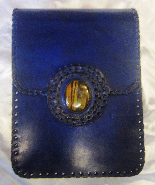 Handmade Leather Satchel/Messenger/Cross body Unisex Bag with gem stone..