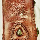 Leather journal embossed with tree of wisdom and gem stone #61