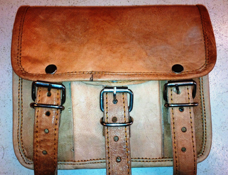 Handmade Goat Leather Messenger/College/office Satchel Bag.