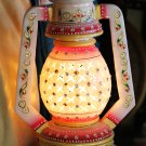 White Marble Lamp with Meenakari and Kundan work. For gifts and decor. #3