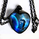 Doctor Who - TARDIS HEART pendant necklace - silver, black, brass, copper