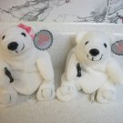 NWT Pair of COCA-COLA Polar Bear Plush Bean Bag Toys #0109 #0110 (1997)